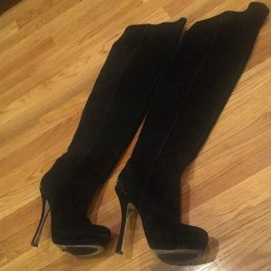 H by Halston Black Suede Over the Knee Boots